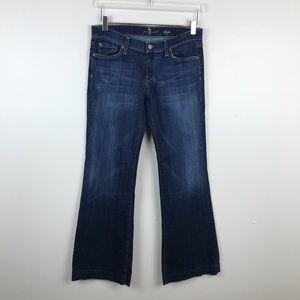 7 for All Mankind Dark Wash Dojo Wide Leg Jeans 28